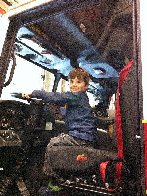 Kid in Fire Truck